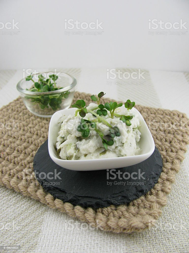Cream cheese with sprouts stock photo