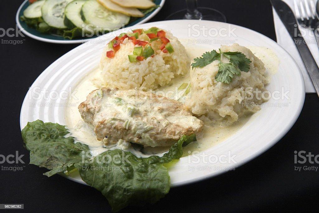 Cream Chicken Dinner stock photo