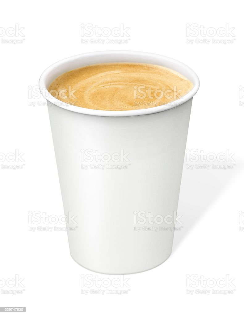 cream Coffee in disposable cup with clipping path stock photo