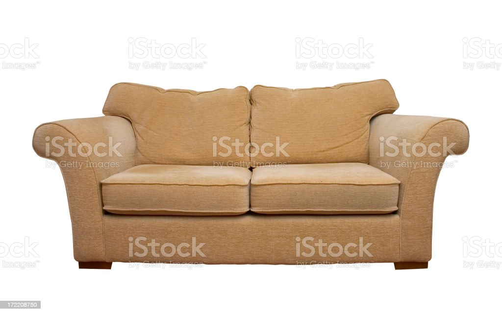 Cream comfortable sofa isolated on white background stock photo