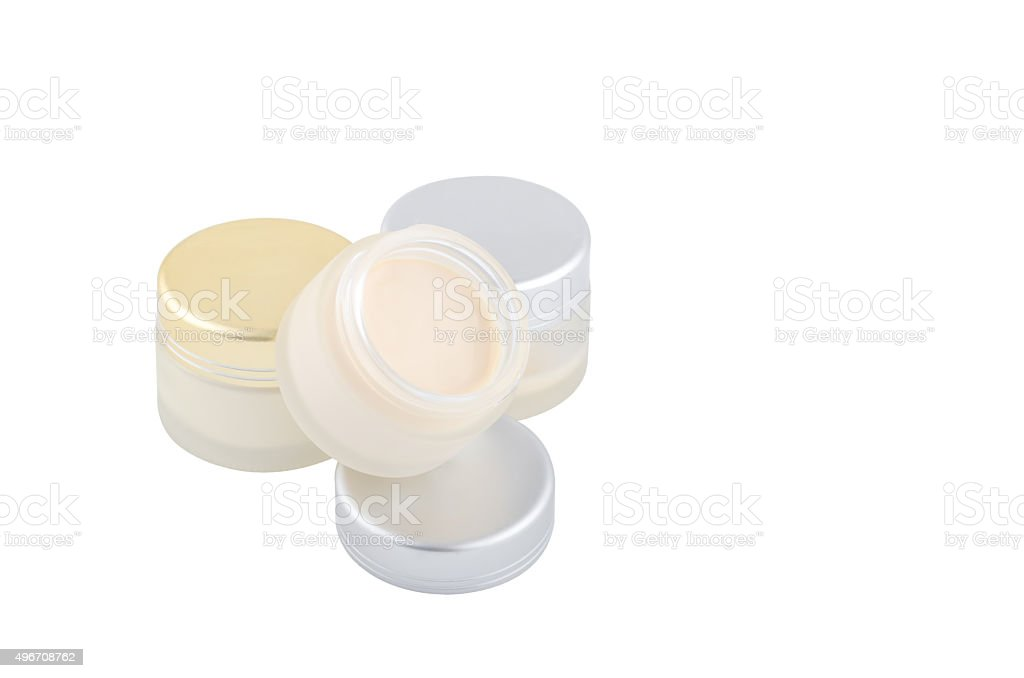 Cream container on white background stock photo