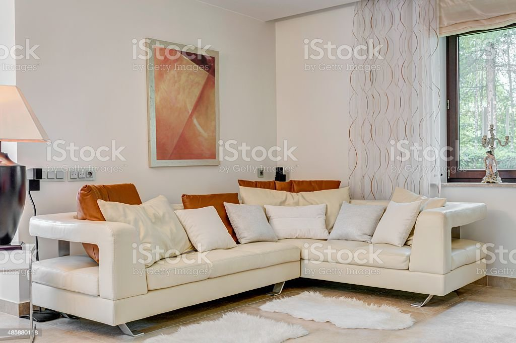 Cream corner sofa stock photo