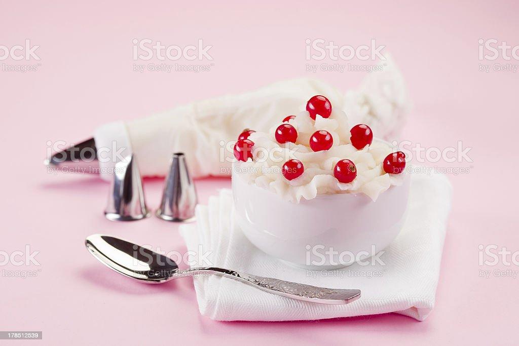 Cream Dessert with currants stock photo