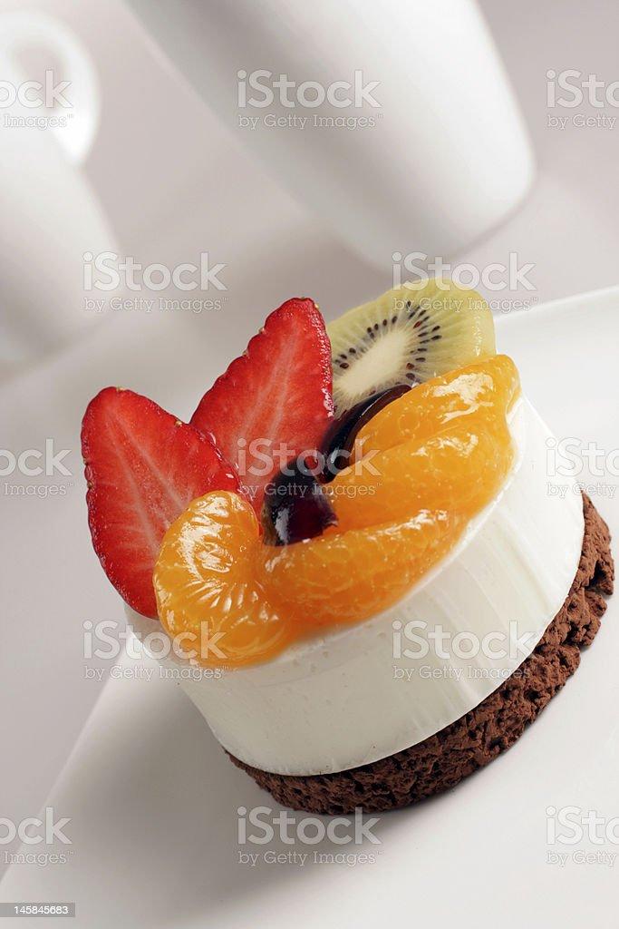 Cream dessert with fruit royalty-free stock photo