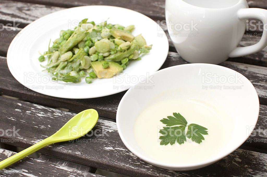 Cream dressing for spring salad royalty-free stock photo