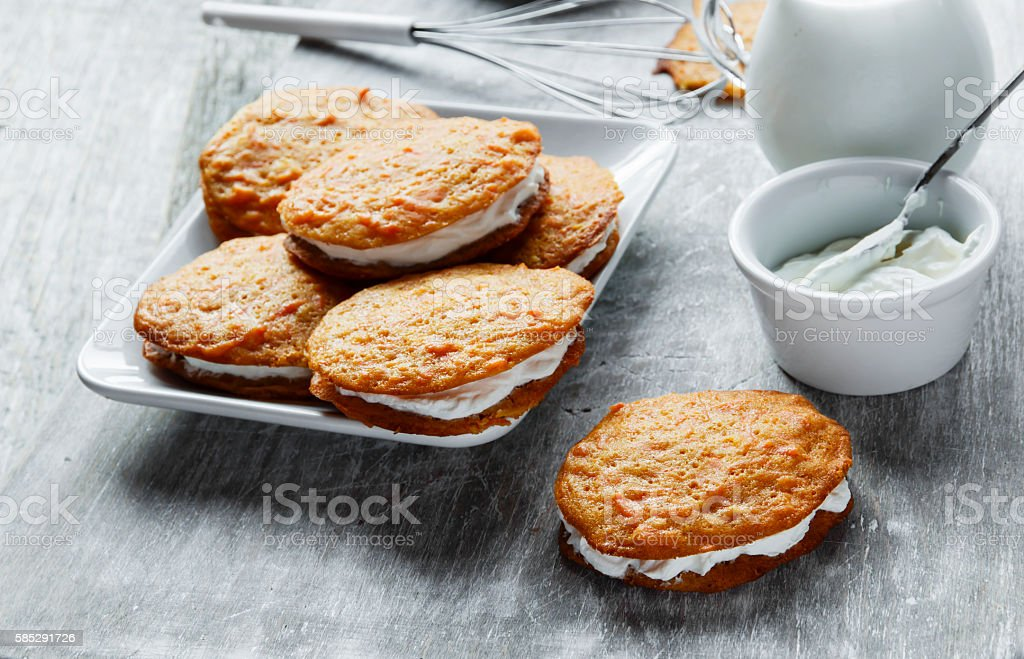 cream filled carrot cake cookies sandwich stock photo