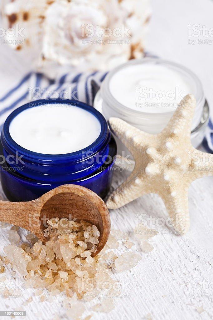 cream in jars with sea salt royalty-free stock photo