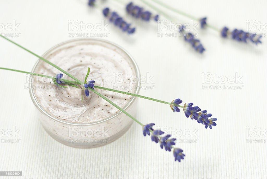 Cream, lavender flowers royalty-free stock photo