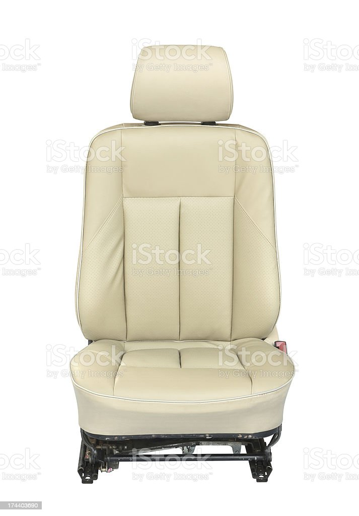 Cream leather car seat against white background stock photo