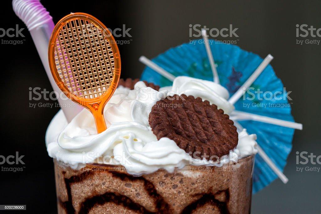 Cream Milkshake in a Glass stock photo