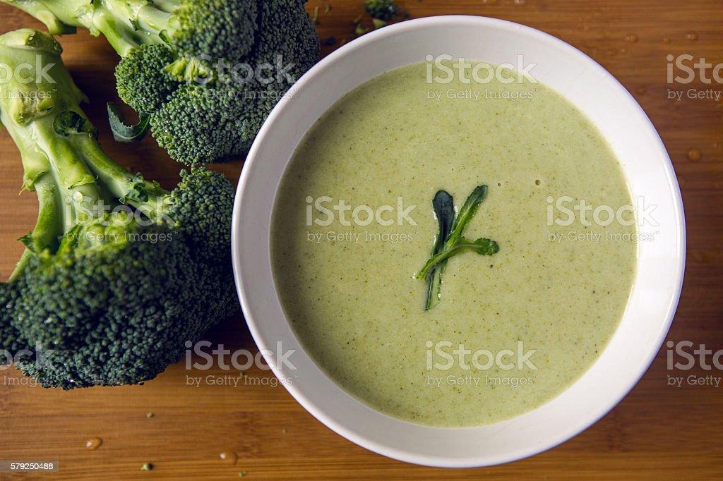 cream of broccoli soup stock photo