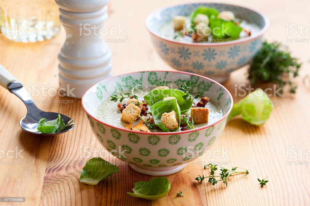 Cream of Brussel Sprout Soup royalty-free stock photo