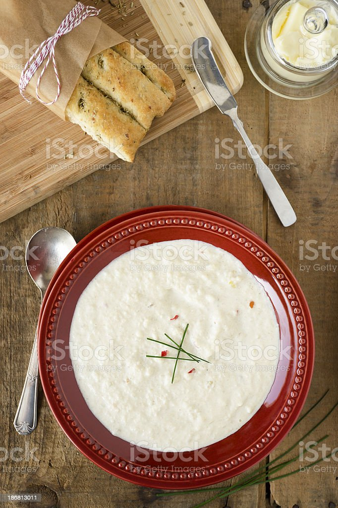 Cream of Cauliflower Soup and Focaccia from Above stock photo