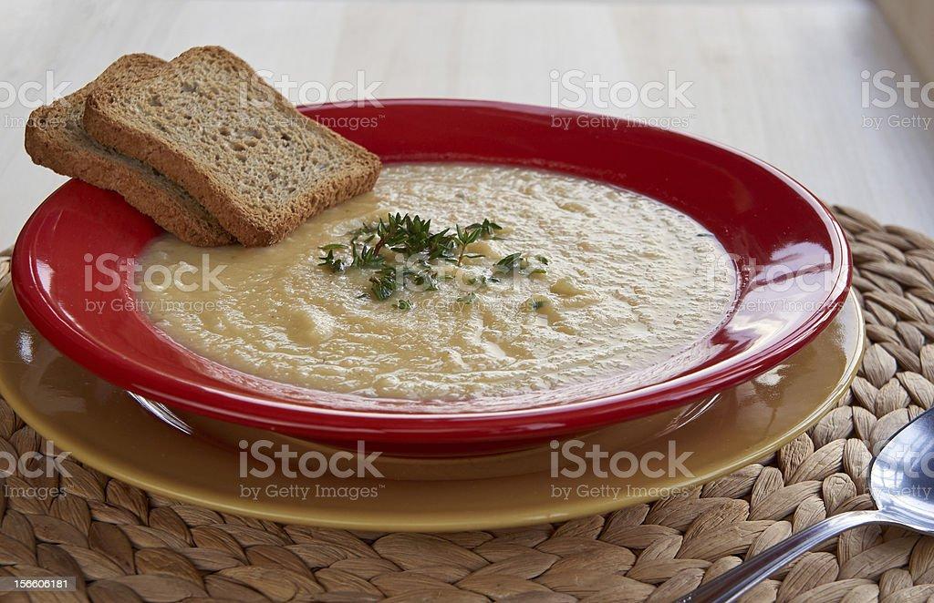 Cream of celeriac soup royalty-free stock photo