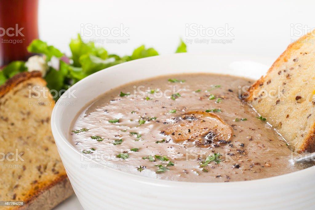 Cream of mushroom soup. stock photo