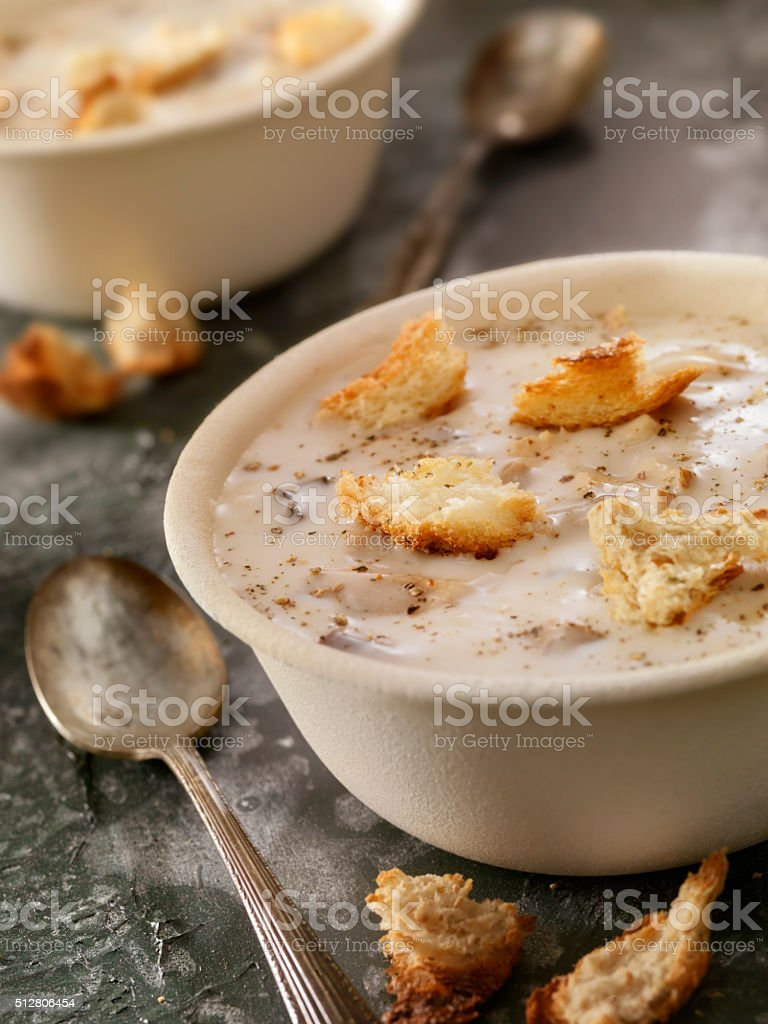 Cream of Mushroom Soup with Croutons stock photo