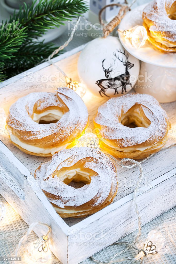 Cream puff rings (choux pastry) stock photo