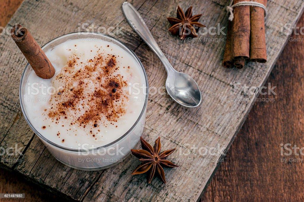 Cream Rice Pudding stock photo