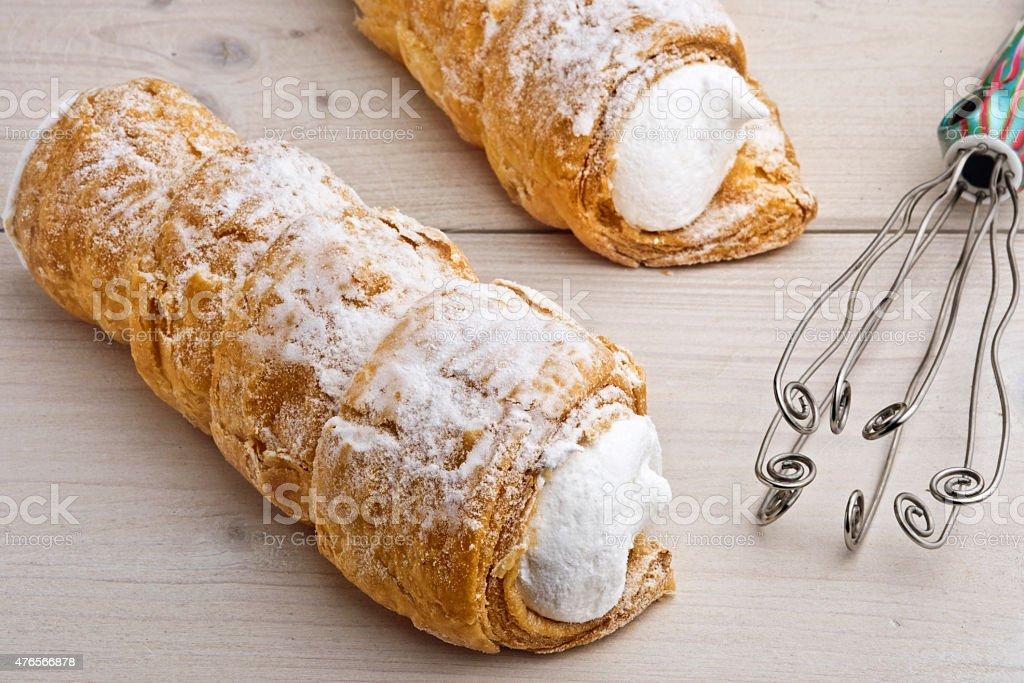 Cream, Schaumrolle, Schillerlocken or Kremrole. stock photo