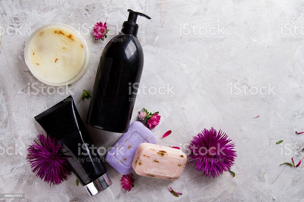 Cream, soap bar and liquid shower gel for aromatherapy, stock photo