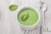 Cream soup or potage from fresh spinach