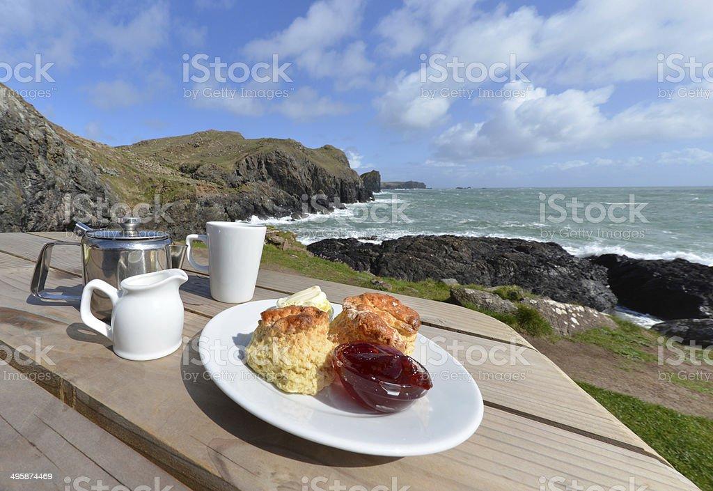Cream Tea coast stock photo