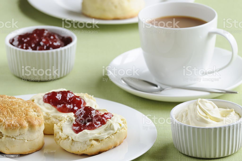Cream tea with scones, cream and jam stock photo