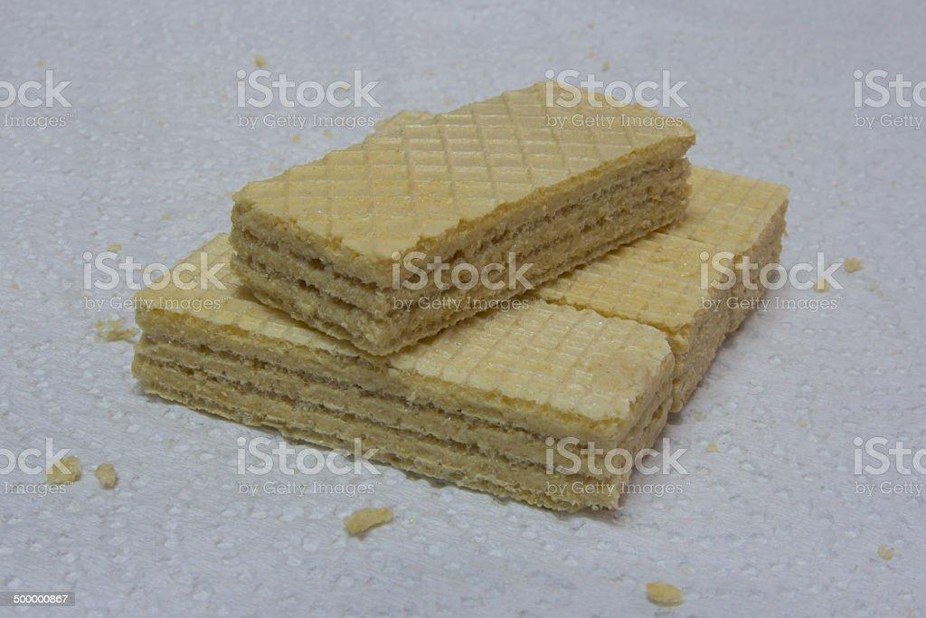 Cream wafer brick stock photo