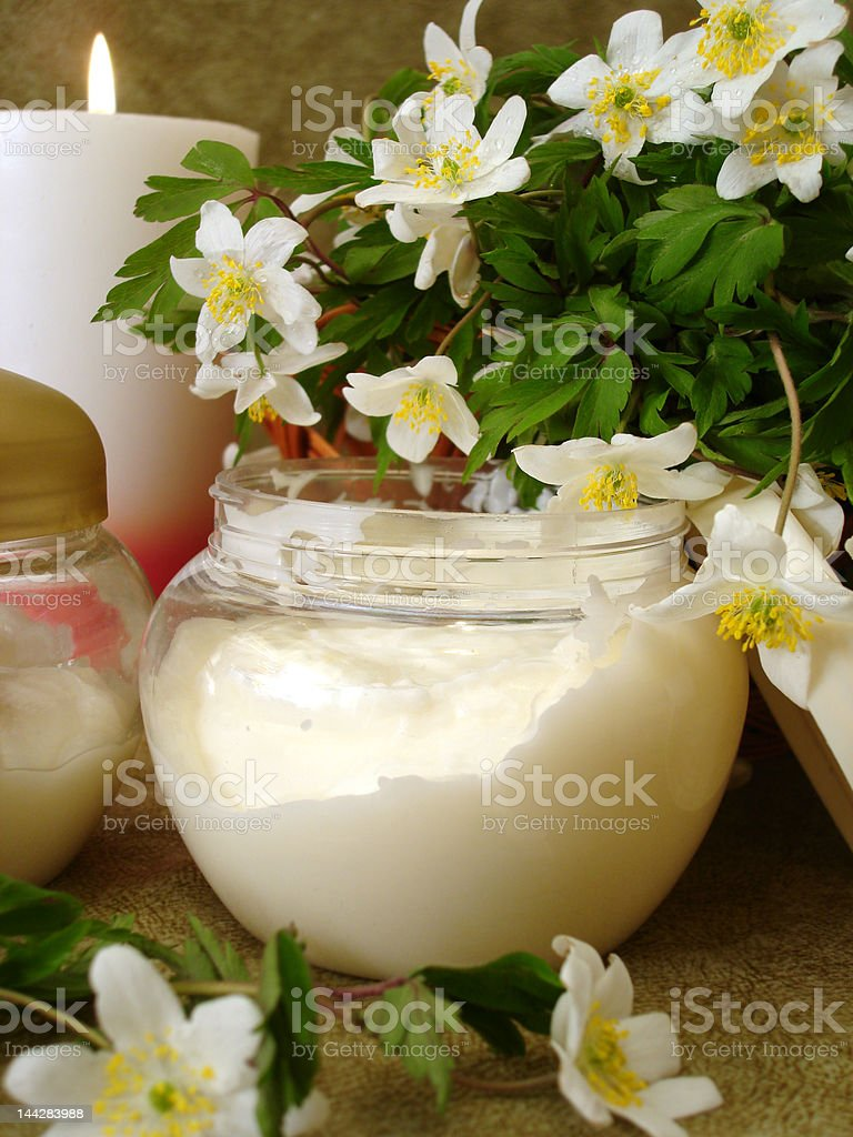 cream with white flowers royalty-free stock photo