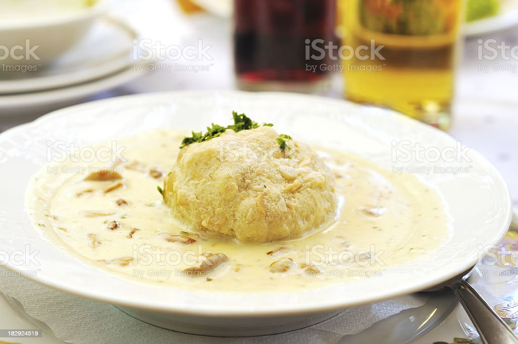 creamed mushrooms with dumpling royalty-free stock photo