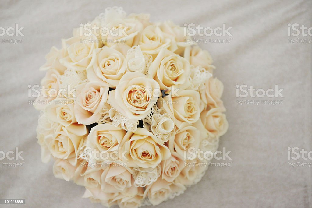 Cream/Pink lacy bouquet of flowers - Wedding royalty-free stock photo