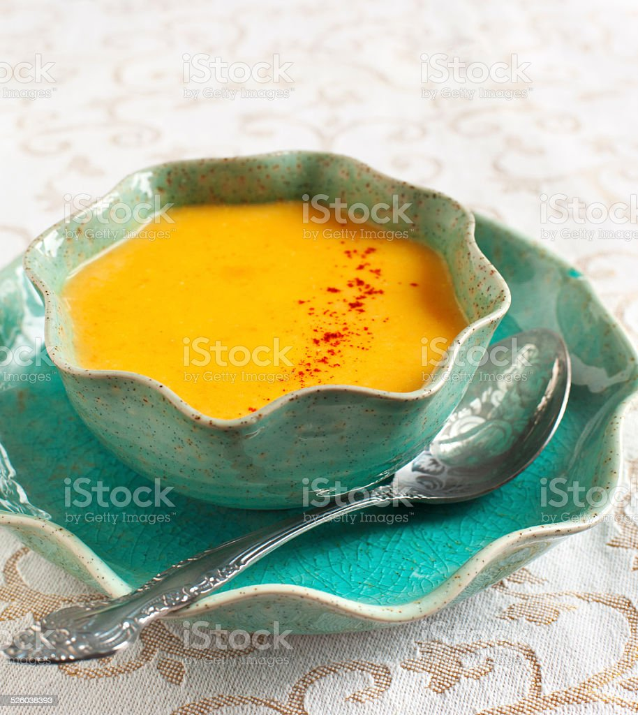 Cream-soup with pear. stock photo