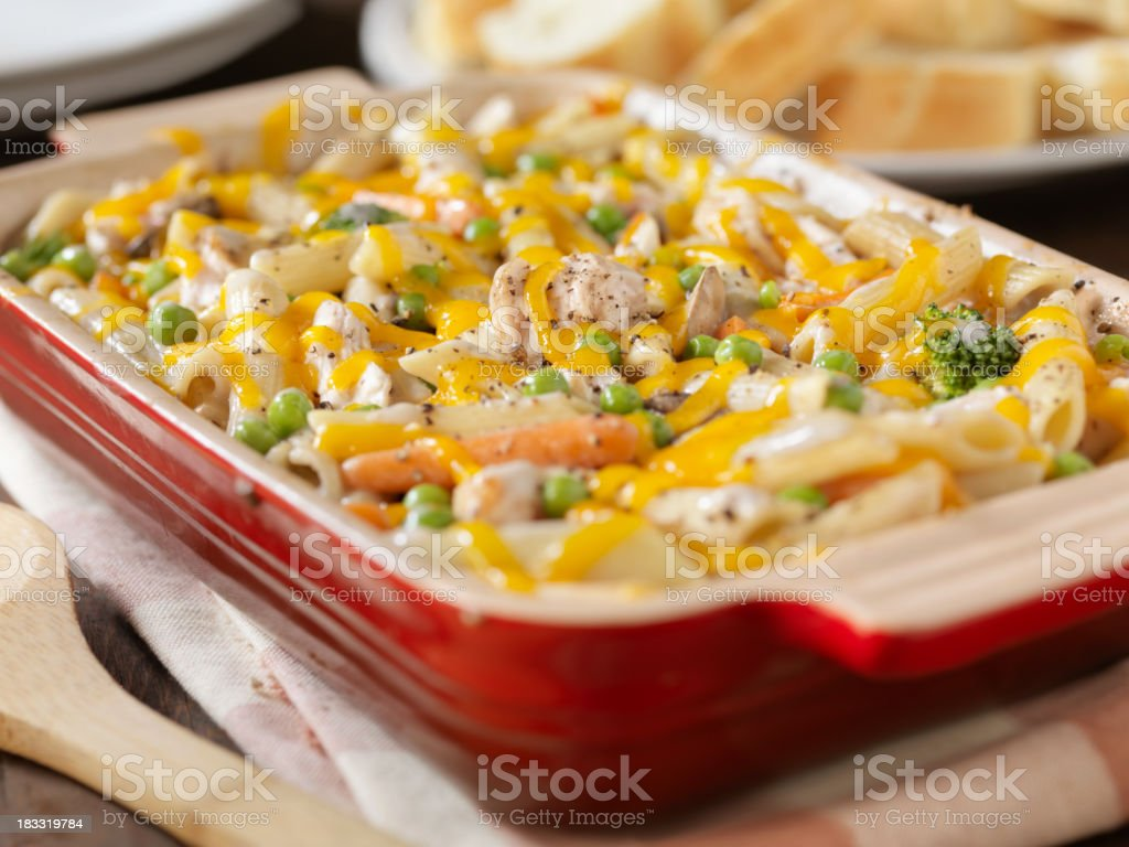 Creamy Baked Chicken and Penne Casserole stock photo