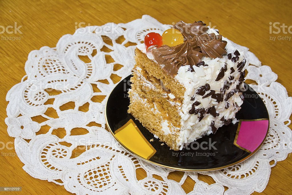 Creamy cake with fruits and chocolate royalty-free stock photo