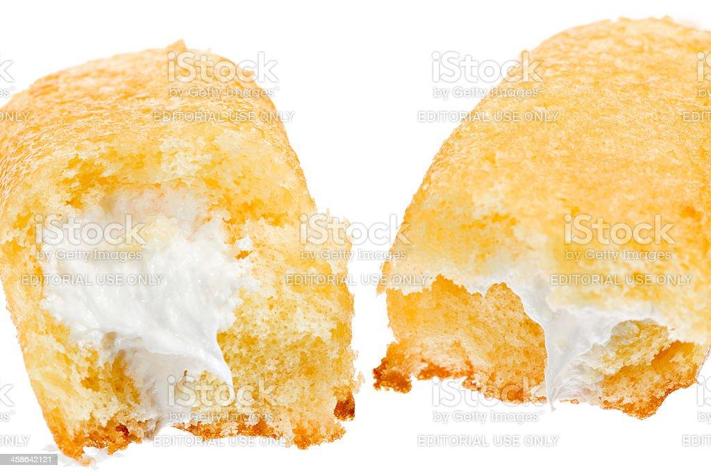 Creamy center of a Twinkie stock photo