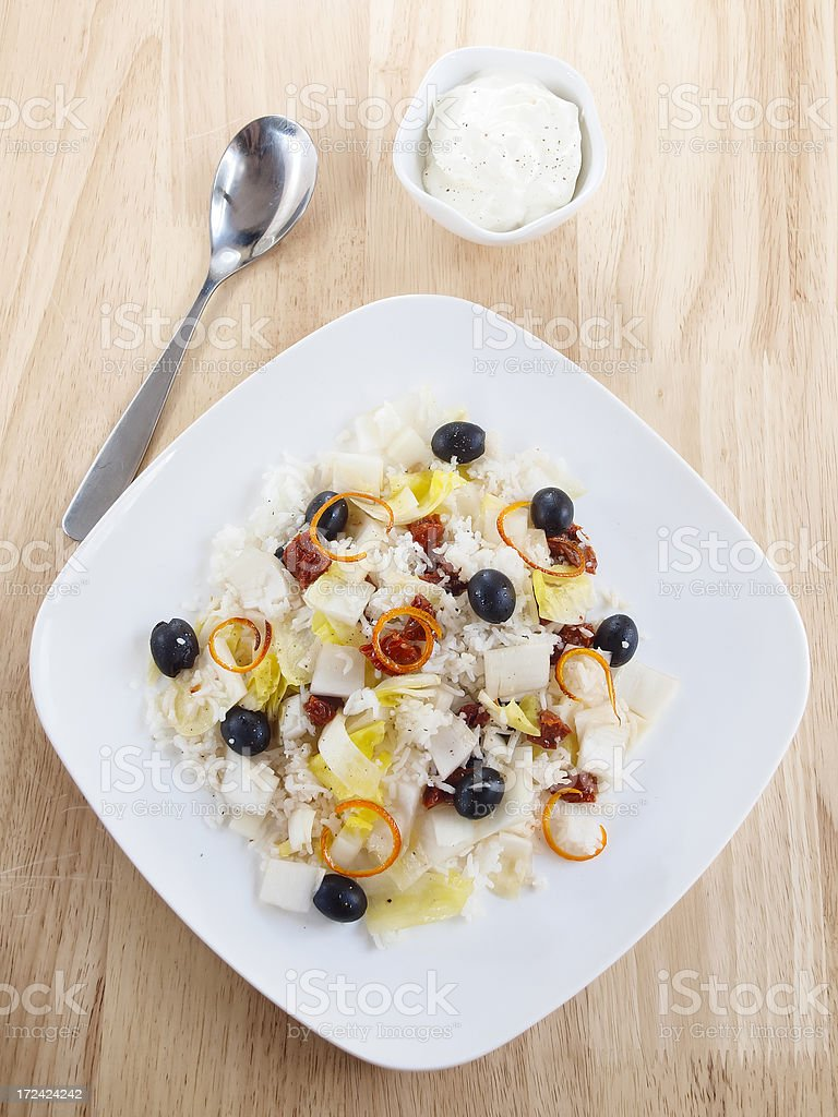 creamy chicory olive salad royalty-free stock photo