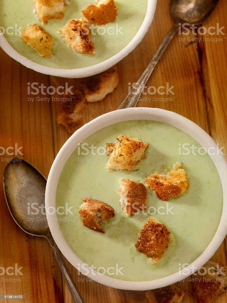 Creamy Cucumber Soup with Croutons stock photo