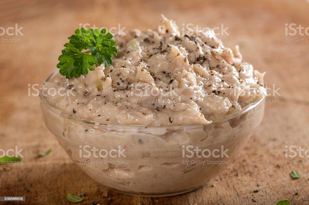 Creamy fish pate in bowl stock photo
