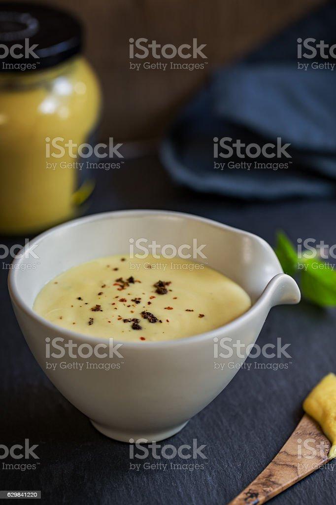 Creamy Honey Mustard dressing stock photo