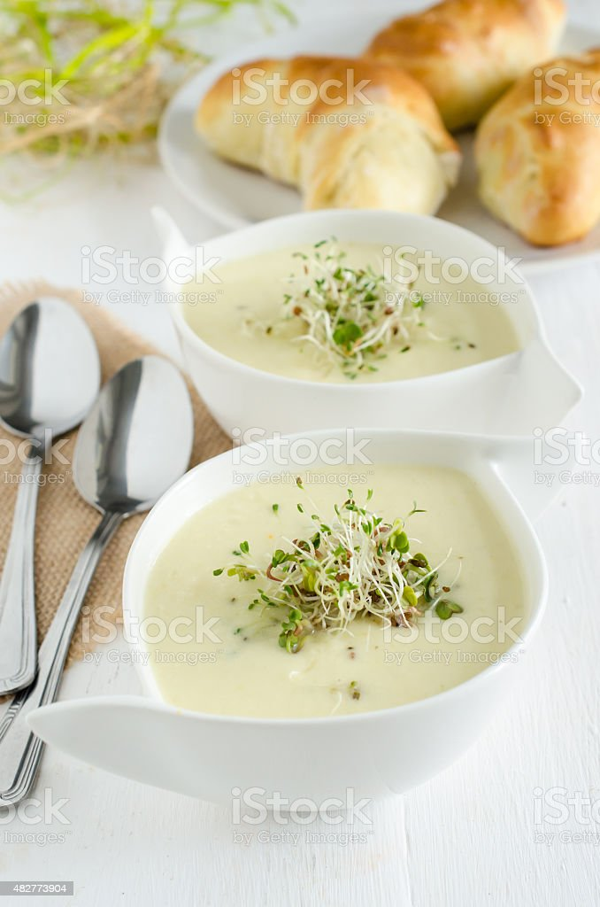 Creamy horseradish and apple soup (Easter food) stock photo