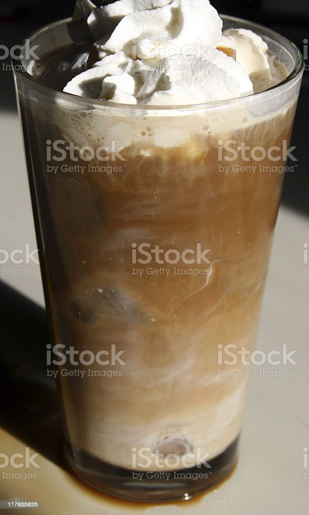 Creamy Iced Mocha Latte in the Afternoon Light royalty-free stock photo