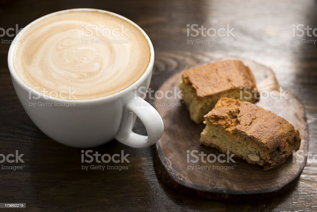 Creamy Latte and Biscotti royalty-free stock photo