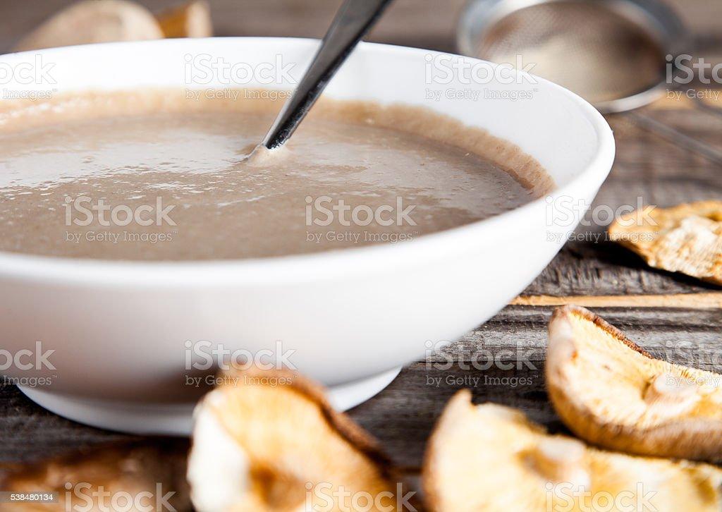 Creamy mushroom soup with champignon and shiitake stock photo