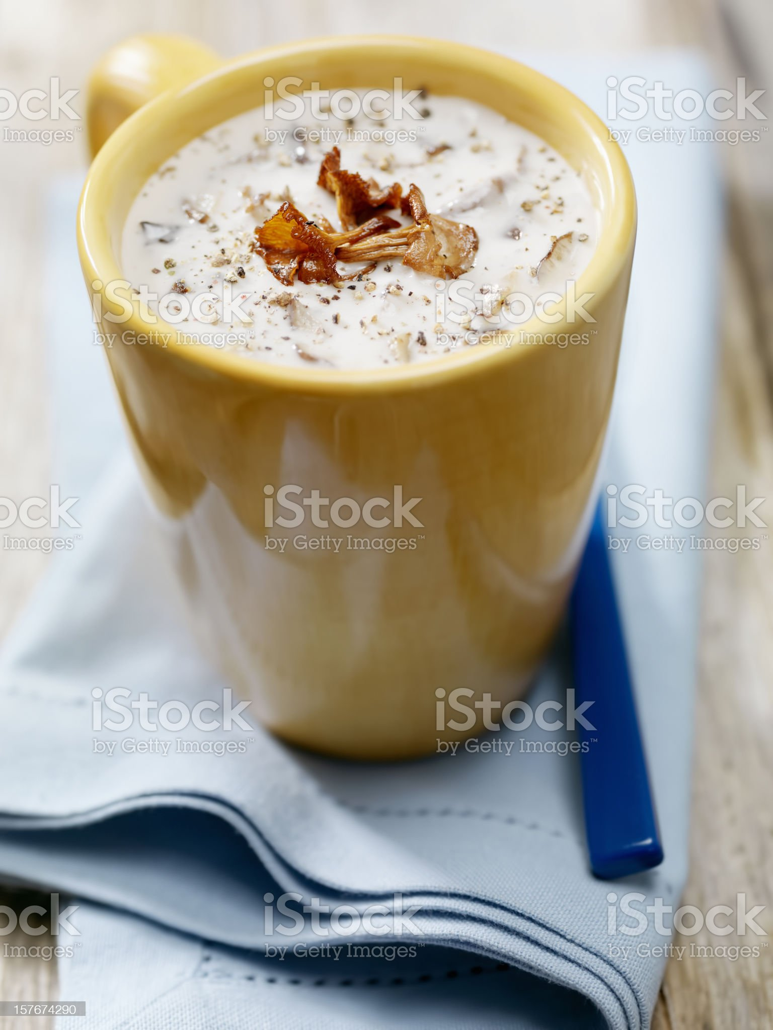 Creamy Mushroom Soup with Chanterelle Mushrooms royalty-free stock photo
