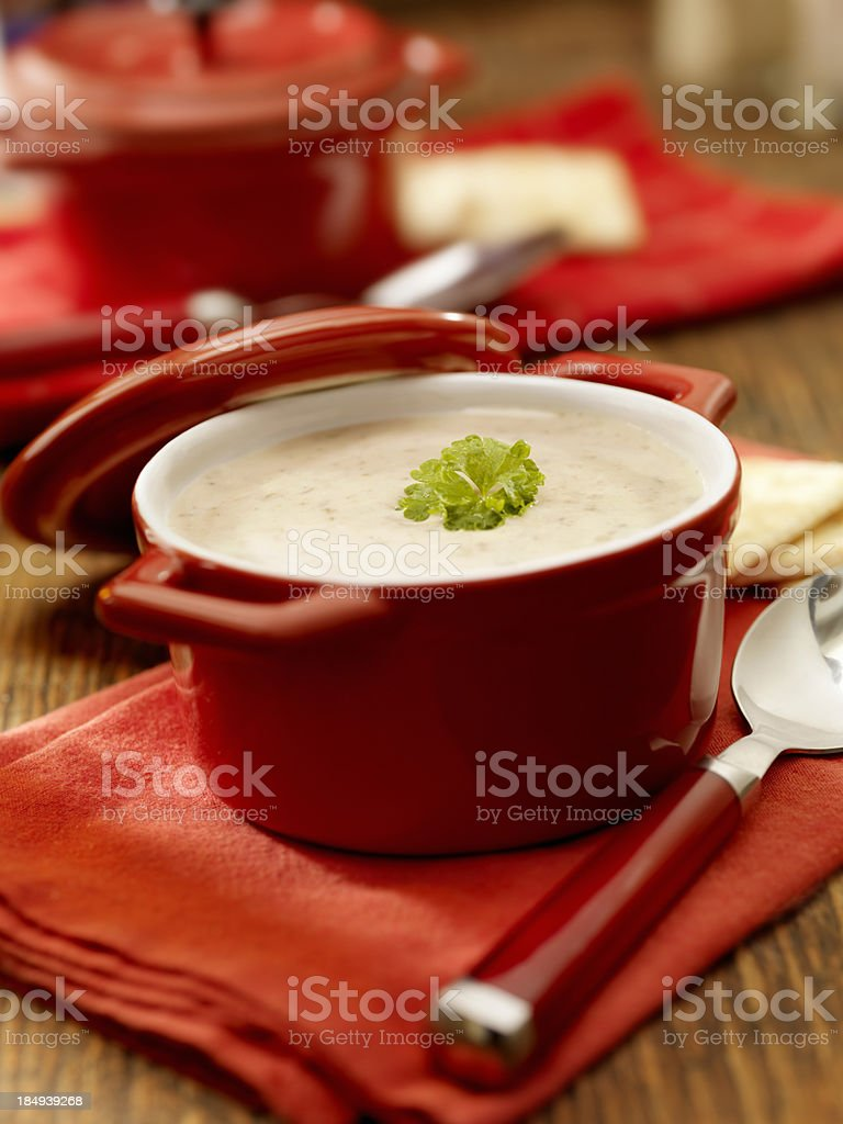 Creamy Mushroom Soup with Crackers royalty-free stock photo