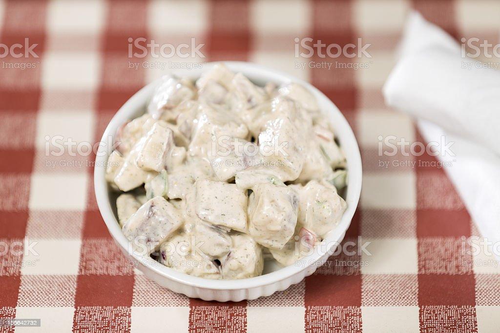 Creamy Potato Salad in a White Bowl royalty-free stock photo