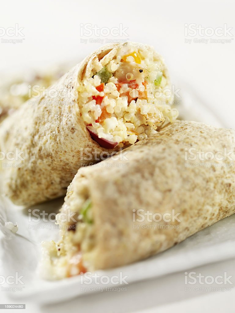 Creamy Quinoa and Chicken Salad Wrap royalty-free stock photo