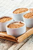 Creamy rice pudding with cinnamon.
