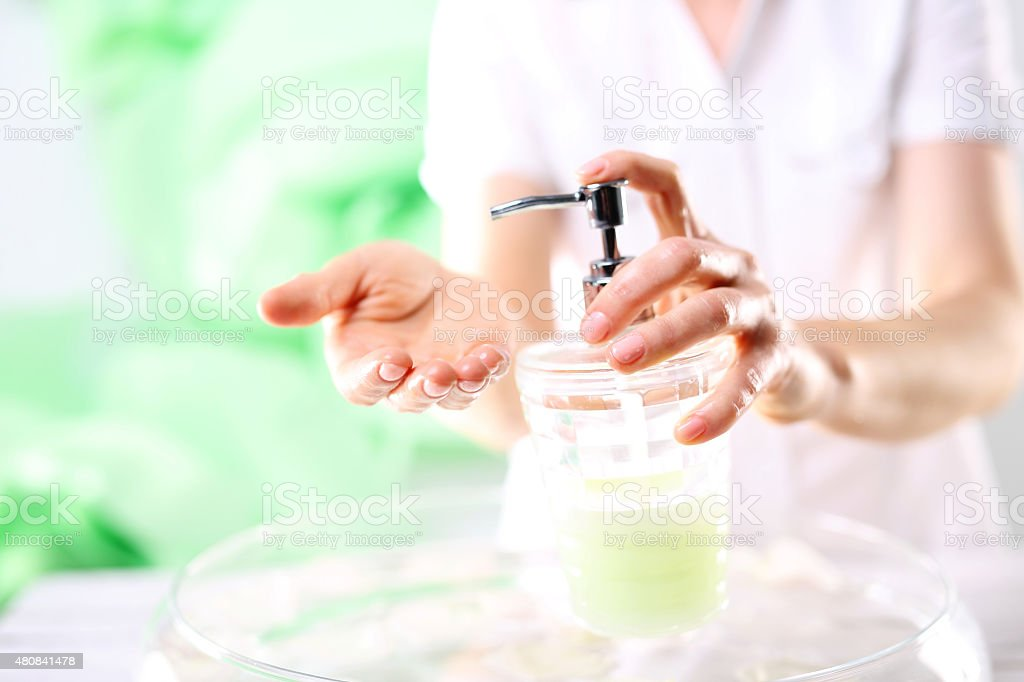 Creamy soap, clean skin stock photo