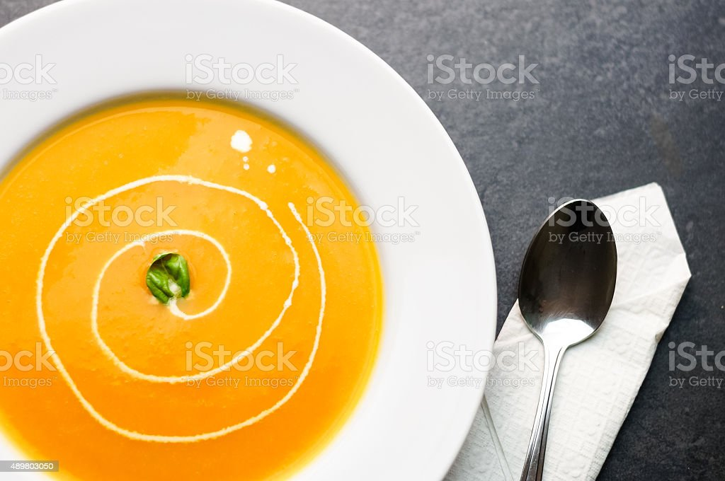 Creamy Soup With Pumpkins, Butternut Squash or Carrots stock photo